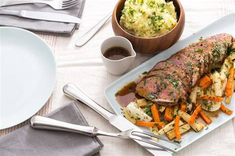 beef roast with root vegetables recipe roast beef with smashed potatoes roasted root