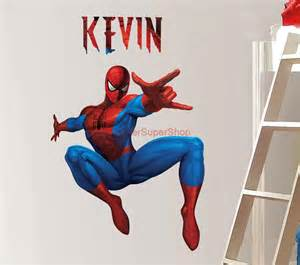 personalized spiderman decal removable wall sticker home decor art large with broken effect