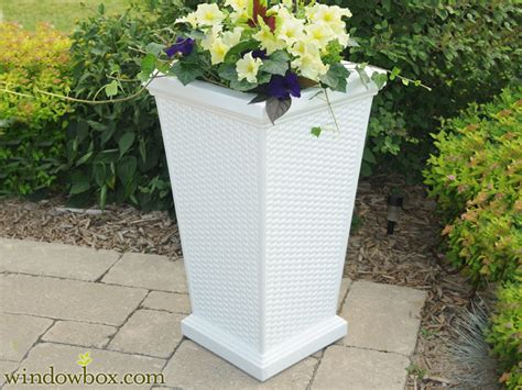 White Planter Boxes Outdoor by Wicker Planters Decorative Outdoor Patio Planter