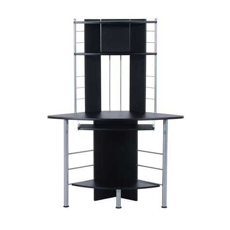 Homcom 45 Quot Arch Tower Corner Computer Desk Black Desks Corner Desk Tower
