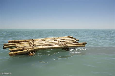 floating boat images bamboo raft floating in sea stock photo getty images
