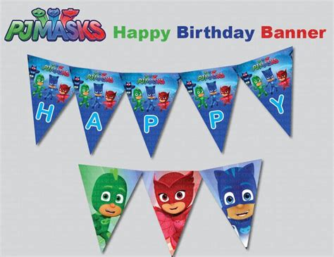 custom printable happy birthday banner instand dl pj masks happy birthday banner printable