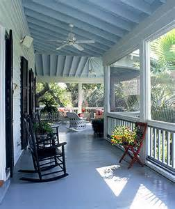 beautiful porch with blue ceiling