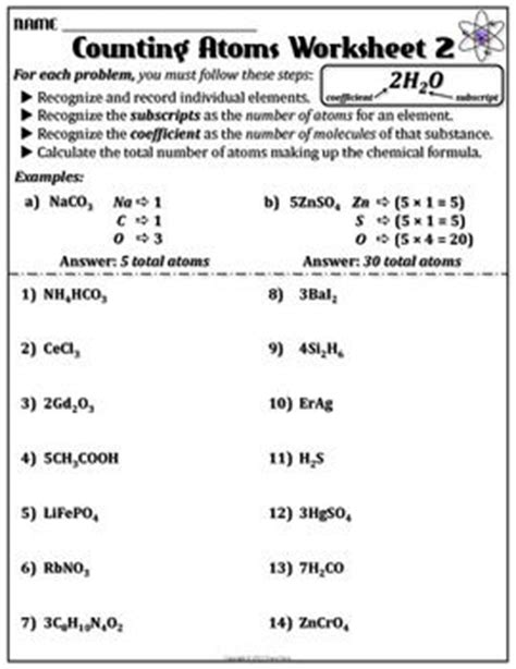 13 best images of atoms and molecules worksheet atoms and molecules in chemical formulas