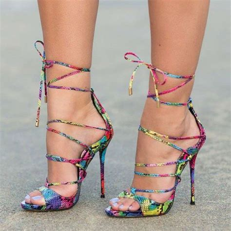 multi colored sandal heels multi color strappy sandals lace up stiletto heel