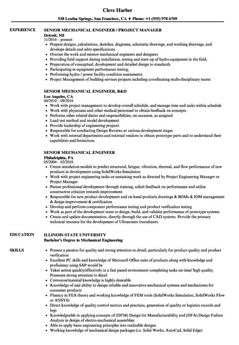 formidable resume format for experienced mechanical design engineer resume sles for experienced mechanical engineers