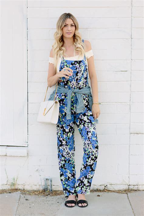 pattern blue overalls wild fox blue bouquet floral jumpsuit for summer