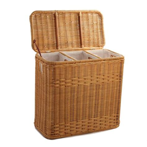 3 Compartment Wicker Laundry Her The Basket Lady 3 Compartment Laundry