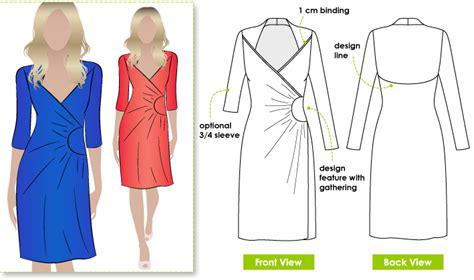 knit wrap dress pattern stylearc trixi knit wrap dress