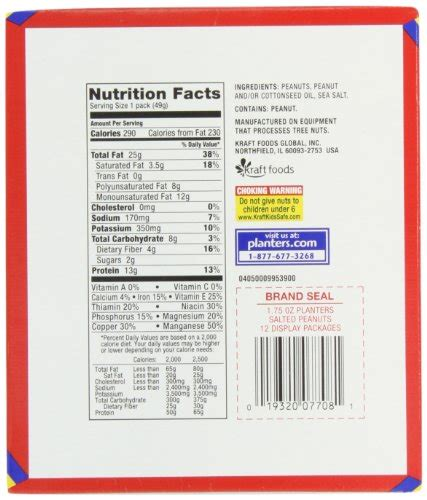 Planters Peanuts Nutrition Facts by Planters Nut Count Variety Pack Ounce