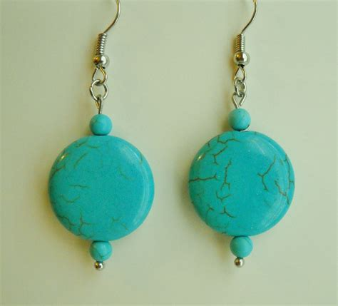 Handmade Beaded Earrings - turquoise blue howlite beaded earrings handmade gemstone