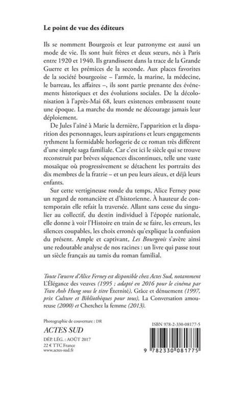 livre les bourgeois alice ferney actes sud romans nouvelles 9782330081775 athenaeum de