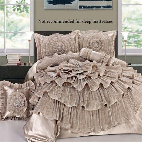 ruffled romance chagne rosette comforter bed set home