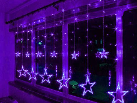 purple 3m 48 led lights acrylic 12 star window curtain