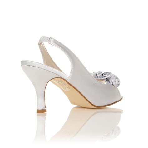 Satin Heels Wedding by New Womens Ivory White Satin Wedding Bridal Shoes