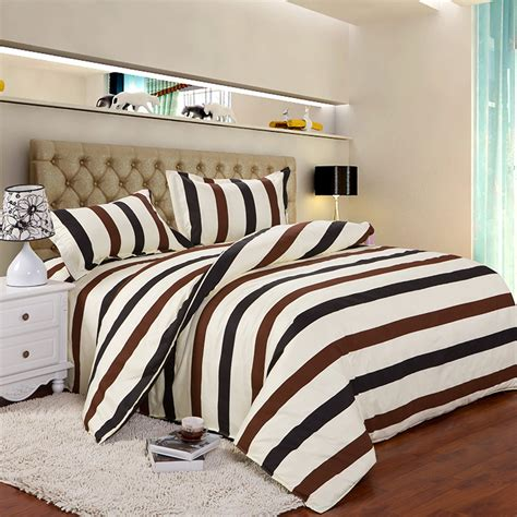 4pcs twin full size brown white black striped best bed