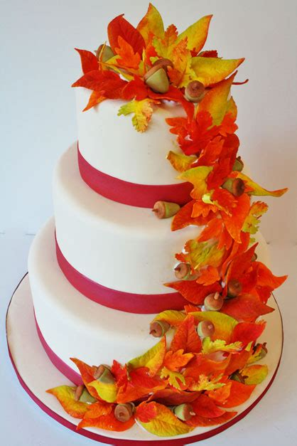 Wedding Cakes New Jersey Fall Leaves Custom Cakes