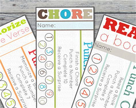 picture chore card template 7 best images of free printable chore punch card for boys