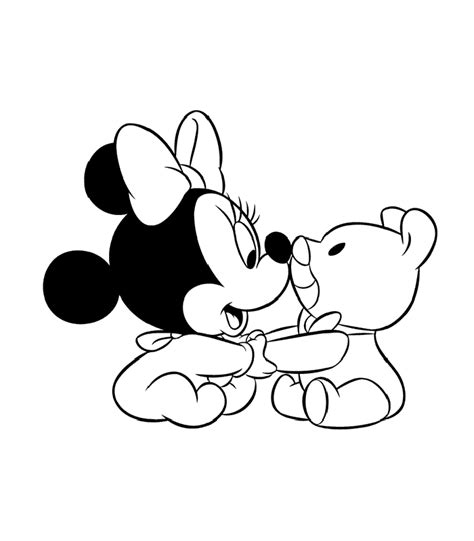 Minnie Mouse Baby Coloring Pages baby mickey mouse and minnie mouse coloring pages