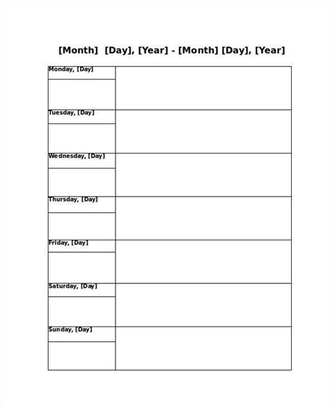 Blank Weekly Calendar 9 Free Pdf Word Documents Download Free Premium Templates Monthly Appointment Schedule Template