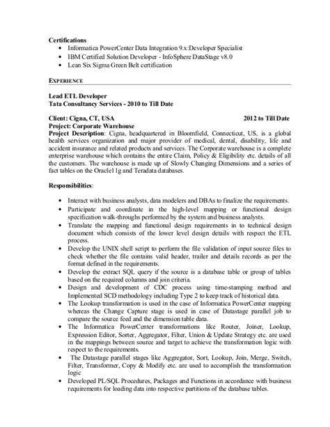 informatica etl developer sle resume resume ideas