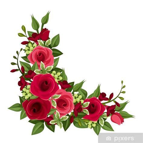 Fotomural Esquina rosas rojas. Ilustración del vector