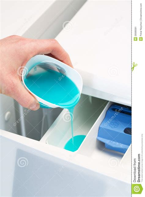 Pouring Detergent In Washing Machine Stock Image Image Where To Put Laundry
