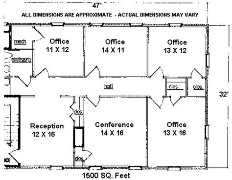 1500 Square Ft 1500 Square Foot Office Floor Plan