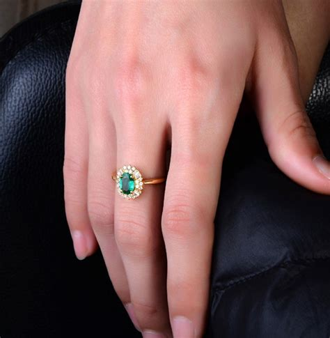 1 carat halo gemstone green emerald and engagement