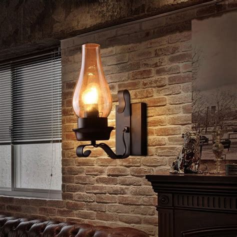 Sconces For Media Room Vintage Rustic Single Light Metal Wall Sconce With Glass