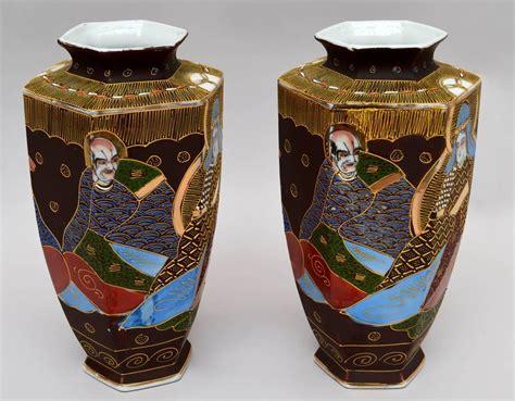 pair of japanese satsuma hexagonal vases for sale at 1stdibs