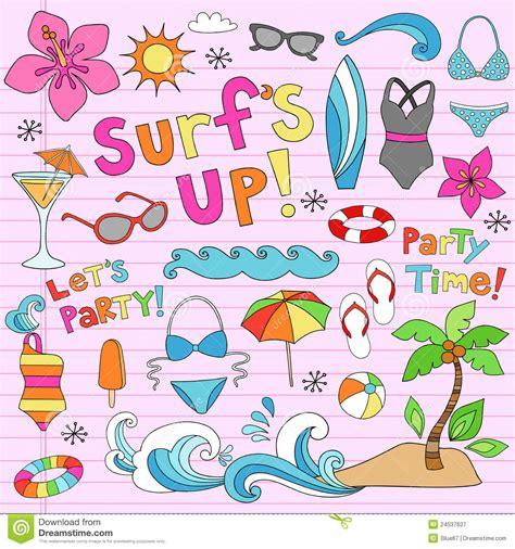 summer doodle free vector hawaiian summer tropical vacation doodles stock vector