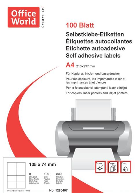 Word Vorlage Etiketten 105 X 74 Office World Etiketten 105 X 74 Mm 100 Blatt Officeworld Ch