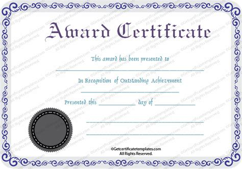 template of a certificate print seal award certificate template