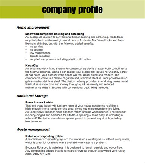 industry profile template 32 free company profile templates in word excel pdf