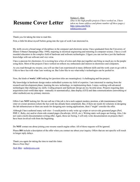 cover letter for science position cover letter for computer science sle