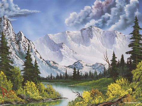 bob ross drawing painting the of painting with bob ross winter mountains