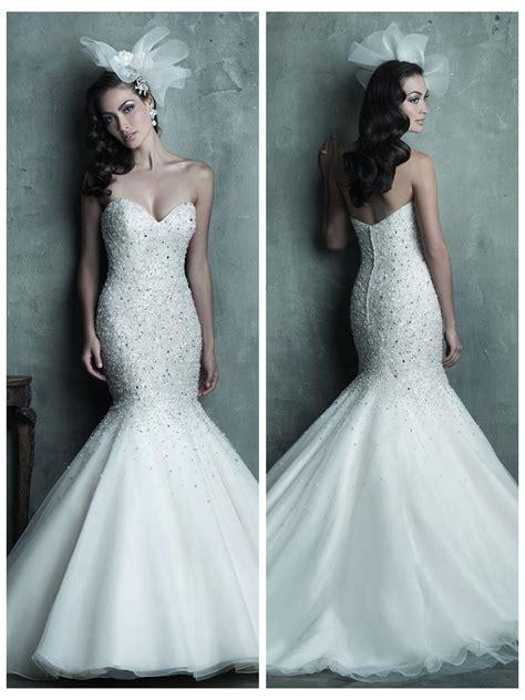 mermaid wedding dress with beading strapless sweetheart beaded bodice mermaid wedding dress