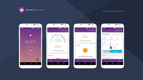 android easy layout design easy bmi calculator android studio mobile application by