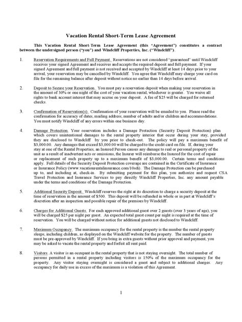 vacation rental agreement exle vacation rental agreement 6 free templates in pdf word