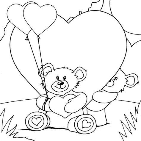 coloring pages of bears holding hearts valentines heart coloring
