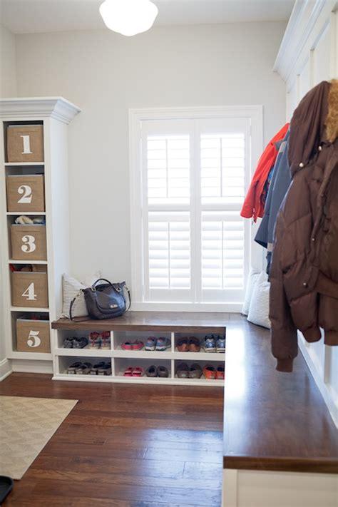 Ballard Design Fabrics mudroom bench transitional laundry room benjamin