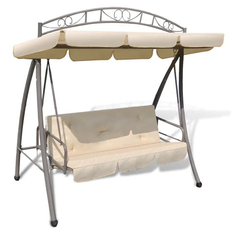 swing chair with canopy outdoor swing chair bed canopy patterned arch sand white