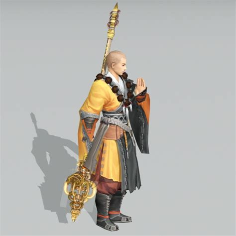 Chinese Warrior Monk 3d model 3ds Max files free download