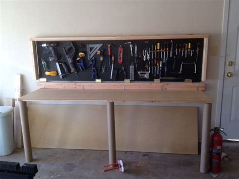 fold wall bench wall mounted folding workbench 6 steps with pictures