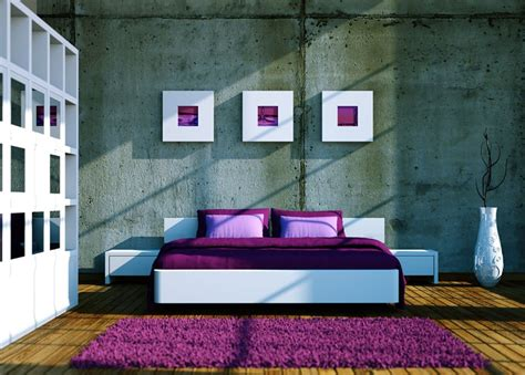 bedroom interior design purple and white 3d house