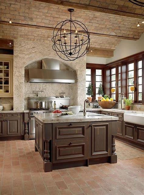 modern furniture traditional kitchen with brick walls