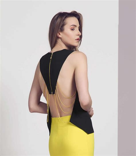 Sale Backless Chain Gown black and gold chain backless top by explosion alila
