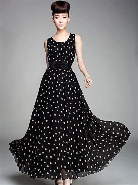Maxi Lilin Polka Dress Maxi polka dot chiffon based maxi dresses designers