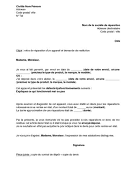 Exemple De Lettre Qui Accompagne Un Devis Exemple Gratuit De Lettre Refus R 233 Parations Par Client Apr 232 S Devis